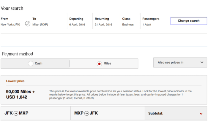 Emirates JFK MXP business