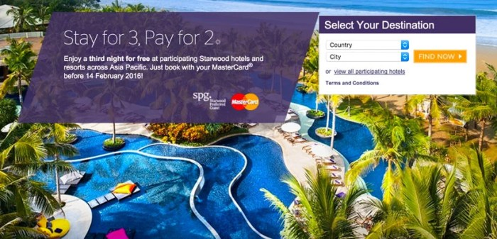 I took advantage of SPG and MasterCard's 3 for 2 promo.