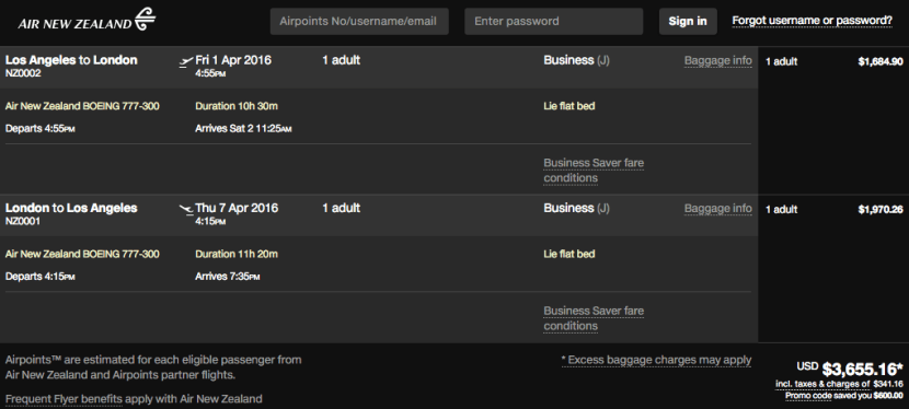 Los Angeles (LAX) to London (LHR) for $3,655 in business class on Air New Zealand.