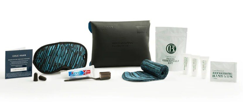 AA's amenity kit for domestic transcon first-class passengers.