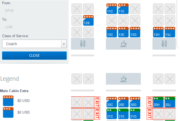 AA Platinum and Executive Platinum never have to pay to selectMCE seats.