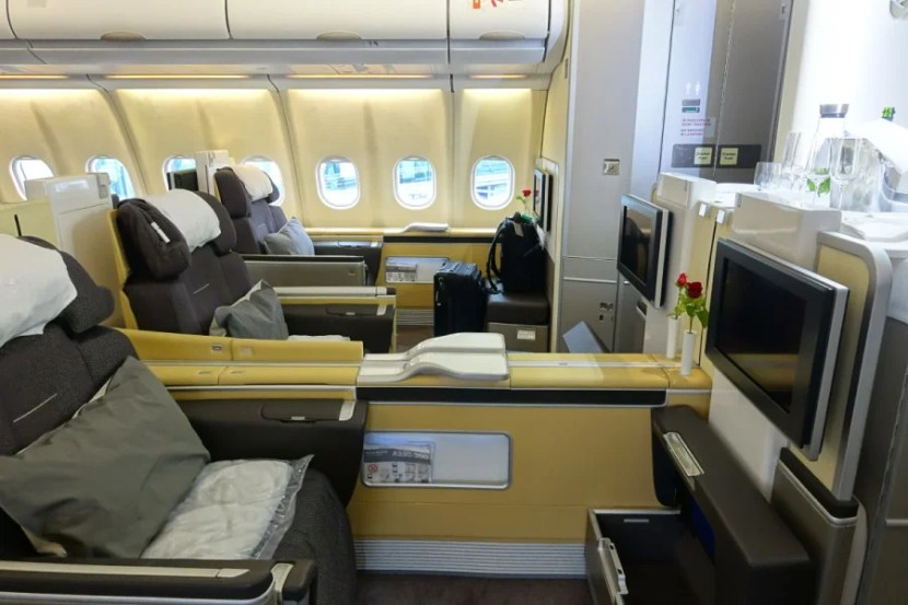 Lufthansa's A330 has a total of eight seats.