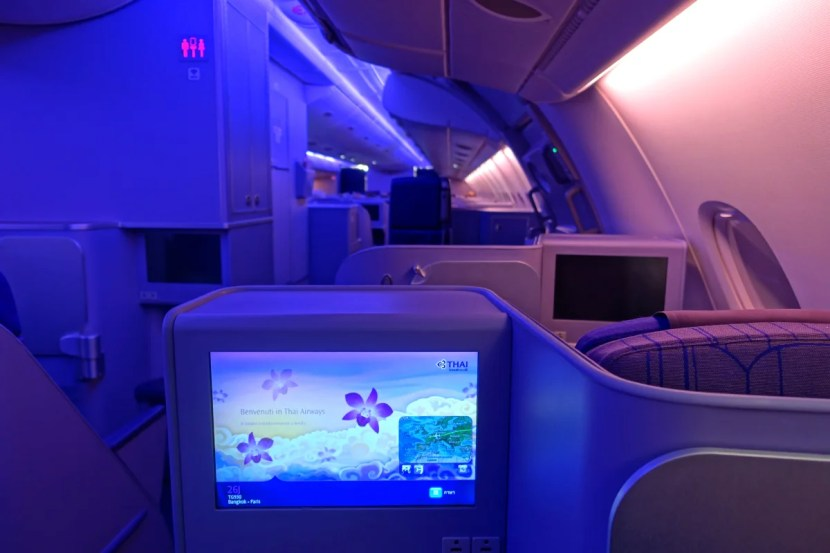 Select window seats offer a fair amount of privacy, and each seat includes a 15-inch monitor.