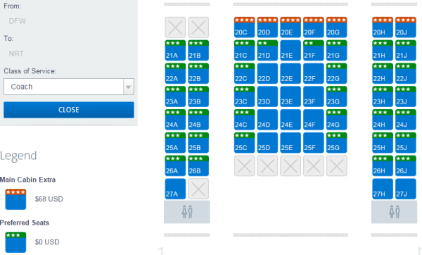 Many seats at the front of this AA 777-200 arePreferred Seats (seat map as viewed by an AA Gold member)