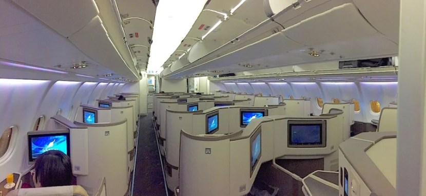 SriLankan's cabin looks a lot like Cathay's and American's.