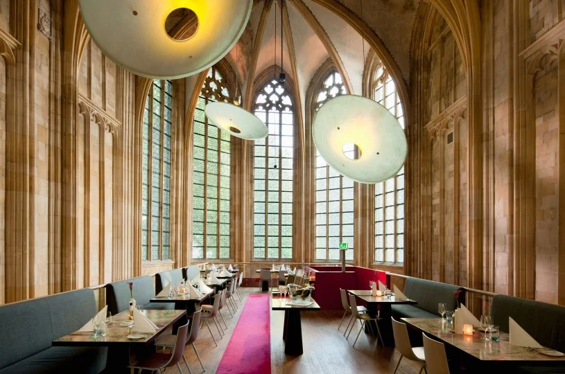 The medieval architecture and contemporary style of the Kruisherenhotel Maastricht. Image courtesy of Design Hotels.