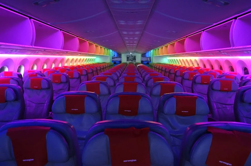 The rainbow lights are a really neat feature of Norwegian's Dreamliners.