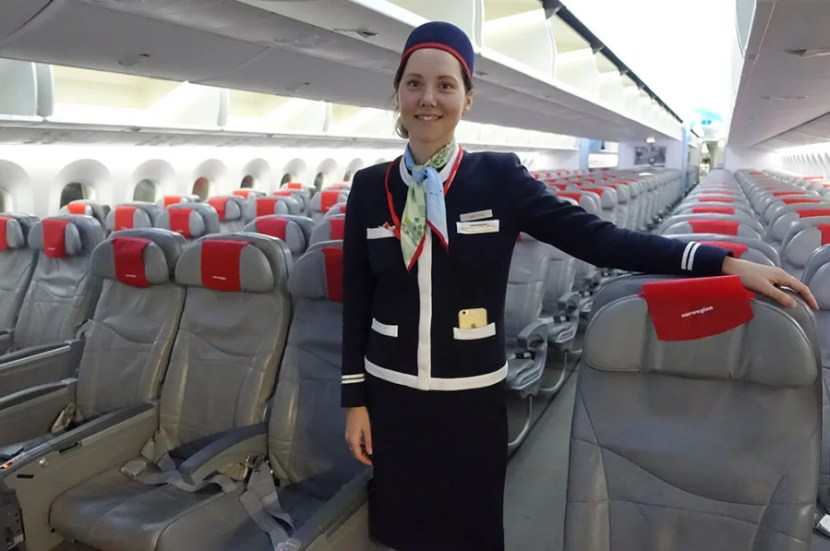 The cabin chief on my JFK-OSL flight, Ilse, who was very nice.