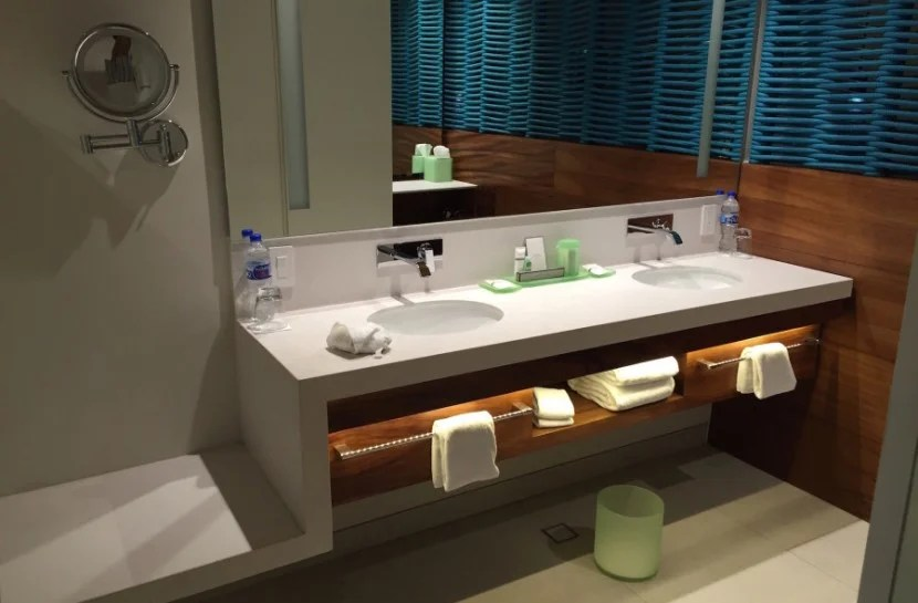 My wife and I always appreciate double sinks and extensive counter space in the bathroom!