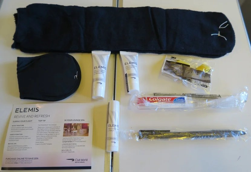 Contents of the BA Club World amenity kit.