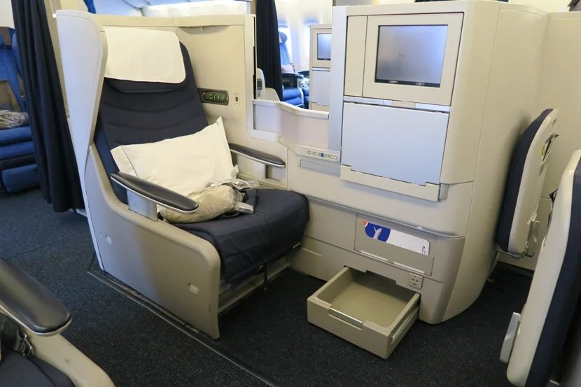 One of the Club World seats, as stocked at boarding.