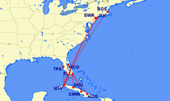 JetBlue's proposed Cuba routes.