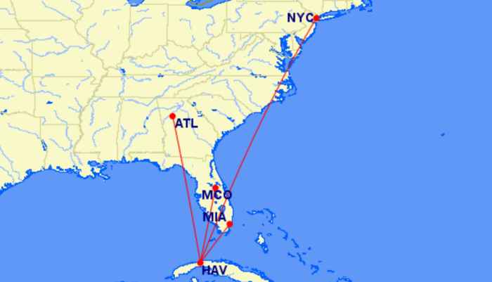 Delta's proposed Cuba routes.