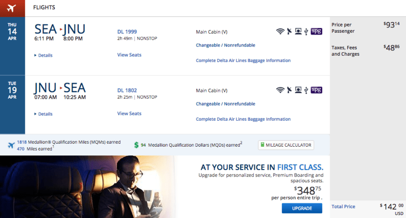 Seattle (SEA) to Juneau, Alaska (JNU) for $142 on Delta.