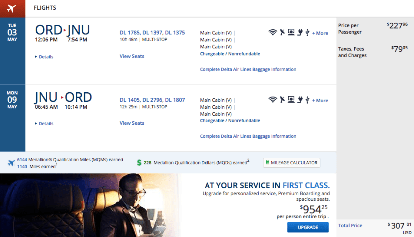 Chicago (ORD) to Juneau, Alaska (JNU) for $307 on Delta.