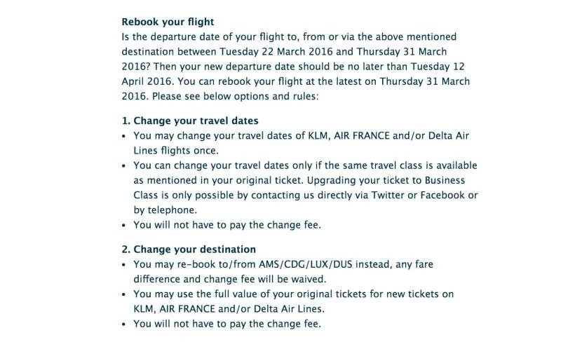 KLM's options for changing your flight.