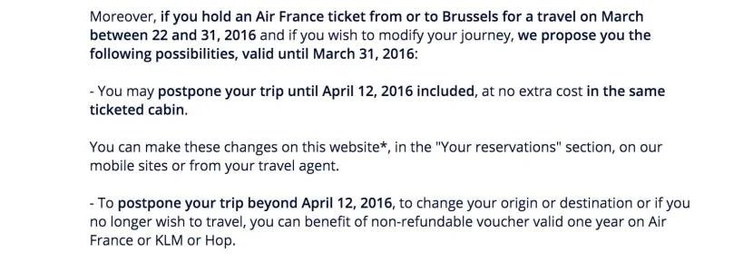 Air France is offering customers the option to modify their trip.