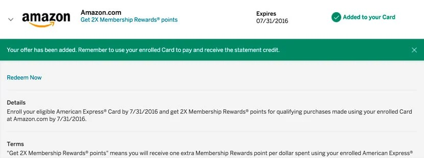 You can earn 2x the points on Amazon purchases.