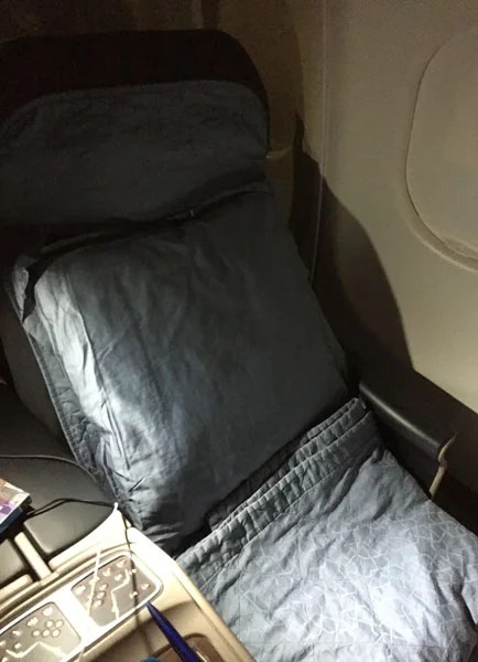My seat after the turn-down service.