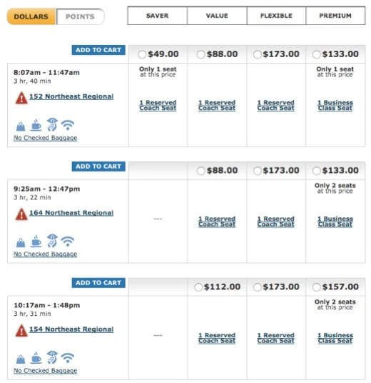 Amtrak ticket options DC-NYC