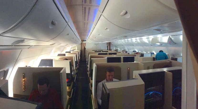 The back business-class cabin.