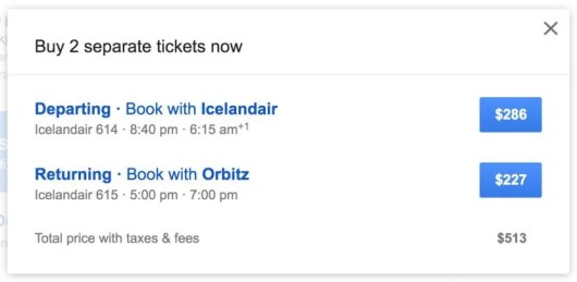 Google will provide links to both options and include the total price.