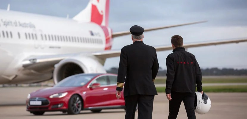 Tesla and Qantas recently raced in Australia.