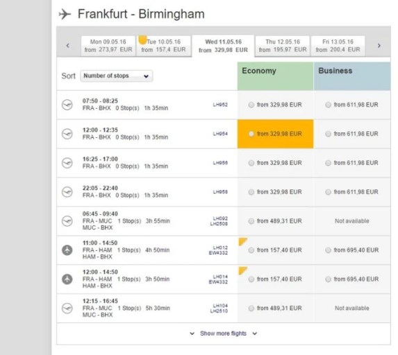 This one-way flight costs 329 euros.