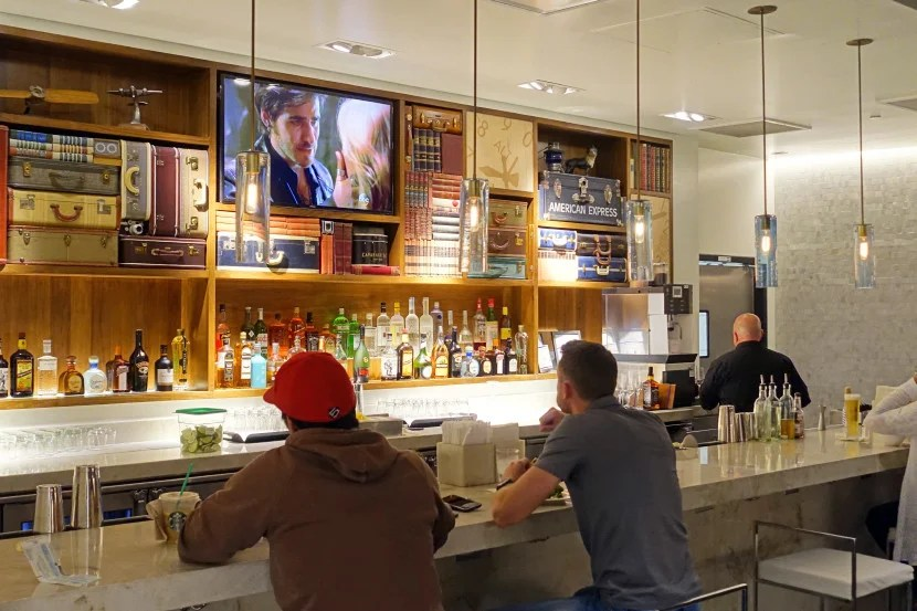 The stylish bar at the Centurion Lounge in Las Vegas.
