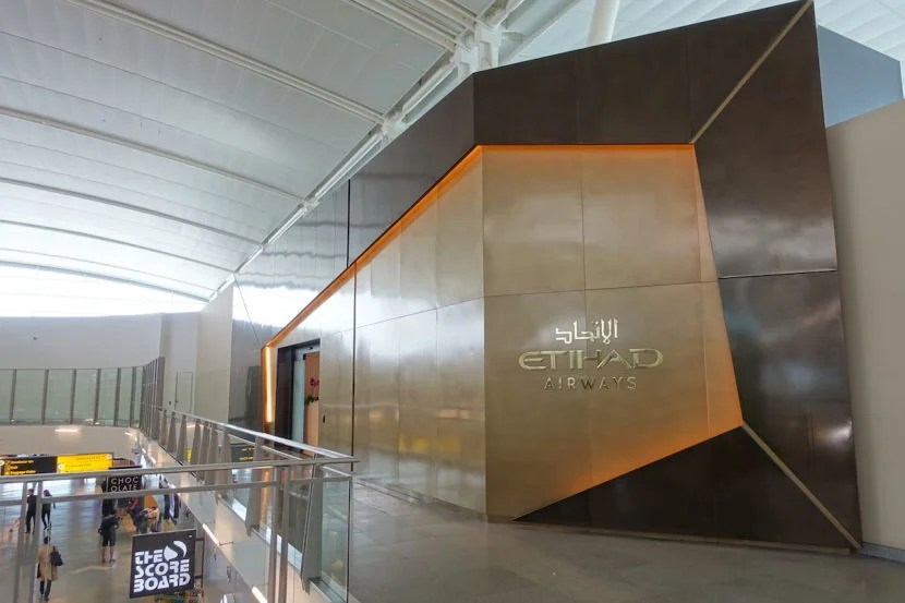 Etihad's lounge is just past security in Terminal 4 - so it can also be a bit of a walk to your plane!