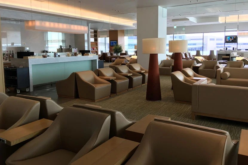 The downstairs section of the Sakura lounge contains the bar area.