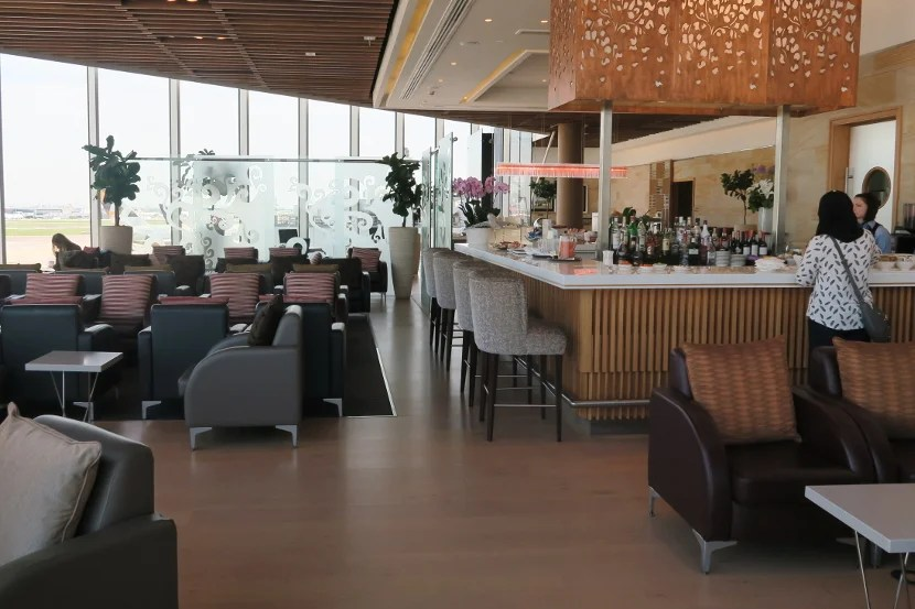 The Malaysia Airlines Golden Lounge featured a bar and impressive views of the airfield.