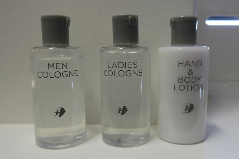 There was free self-serve cologne and lotion bottles in the bathrooms.