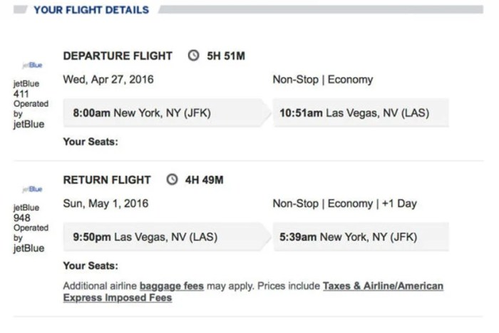 I booked the round-trip flight and hotel together to save about $330. Here's the info about my flight.
