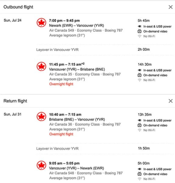 A sample search on Google Flights from Newark to Brisbane on Air Canada.