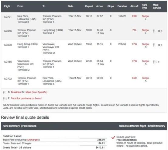 New York (LGA) to Hong Kong (HKG) for $411 on Air Canada in November.