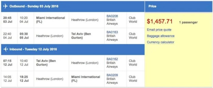 Miami (MIA) to Tel Aviv (TLV) in business class on British Airways for $1,458.