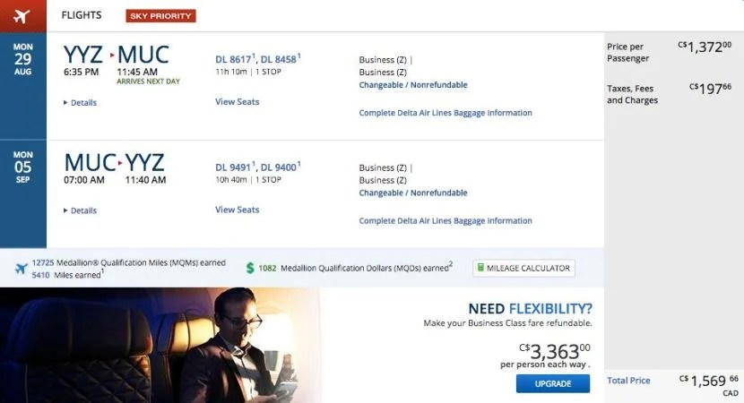 Toronto (YYZ) to Munich (MUC) for $1,202 round-trip in business class on Air France and KLM.
