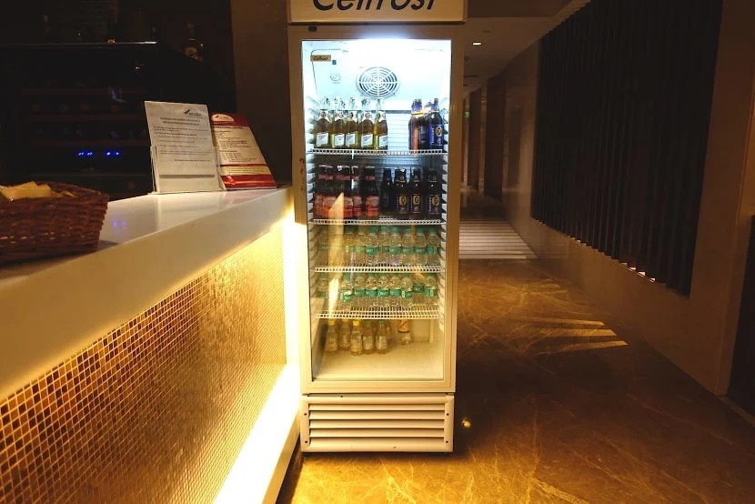 The bar and beer/water fridge.