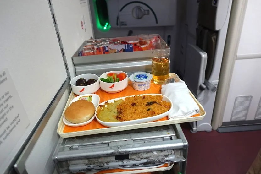One of the pre-composed trays in the galley.