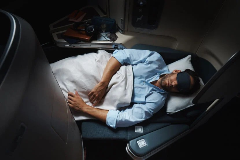 The business-class seat on Cathay's A350.
