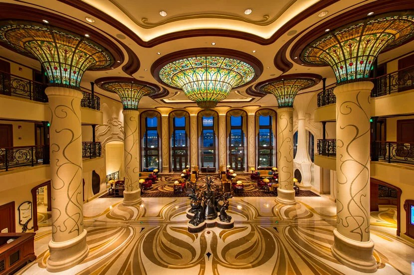 Inside the Shanghai Disneyland Hotel.