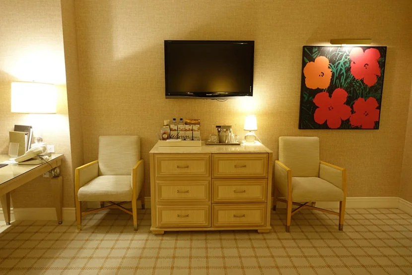 The fabric chairs proved to be very comfortable, but the TV felt too small for a room this size.