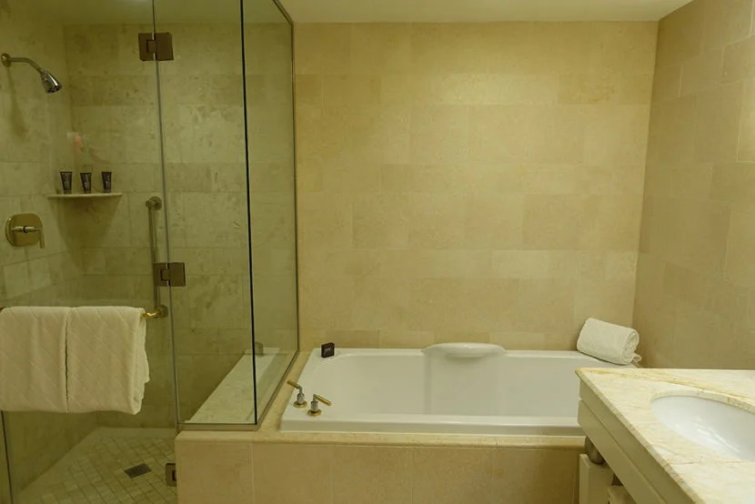 The bathroom featured a tub and a somewhat small shower.
