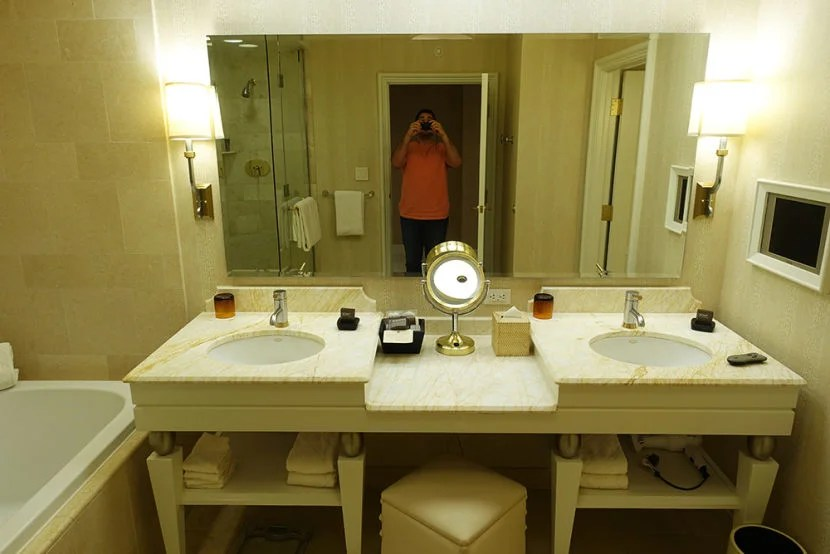The bathroom was nicely appointed but featured an oddly-placed TV in the wall.