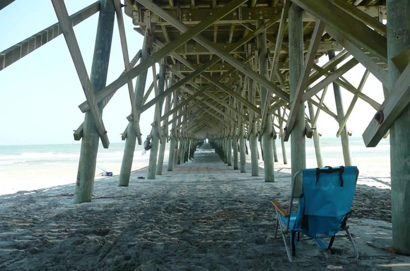 Under the fishing pier at Folly Beach in Charleston, SC.