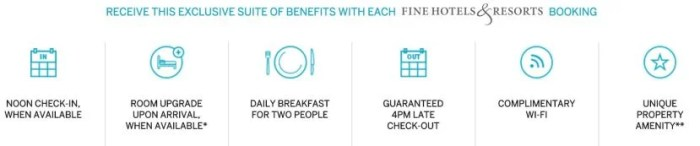 Some of the many benefits you can start using as part of the American Express Fine Hotels & Resorts program.