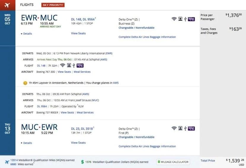Newark (EWR) to Munich (MUC) for $1,539 round-trip in business class on Delta.