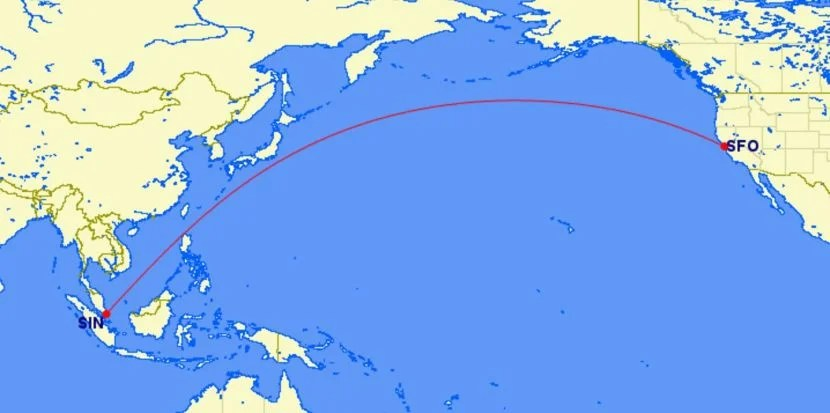 Singapore's new route: nonstop service between SIN and SFO.