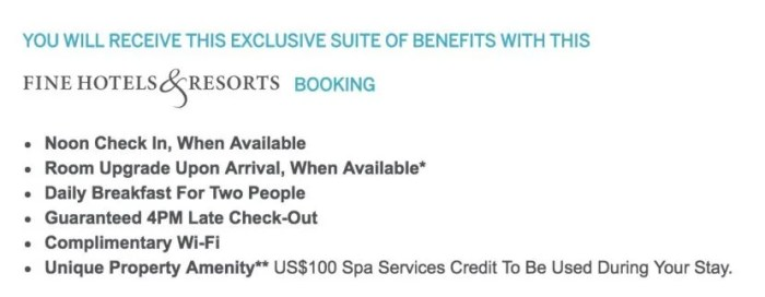 The Fine Hotels & Resorts program gives you some great perks at select hotels around the world.